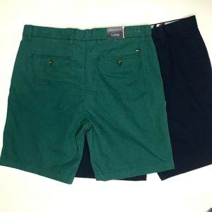 """2 Tommy Hilfiger Cotton Twill Shorts 9"""" Inseam 34"""